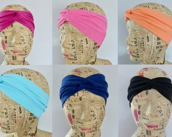 Jersey Head band, jersey turban head band, yoga head band. twisted head band, knot headband. Head wrap