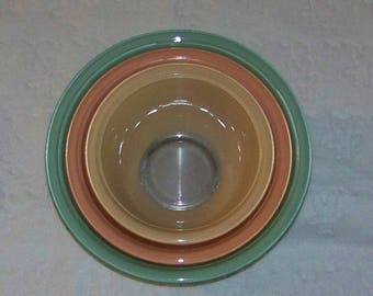 Clear Bottom Pyrex Pastel Used Bowl Set