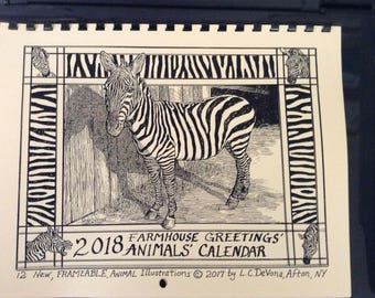 2018 Farmhouse Greetings' ANIMAL CALENDAR featuring 12 new Animal Adventure Park animal drawings by L.C.DeVona, Afton, NY