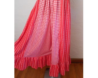 vintage 1970's Gingham Wide Leg Palazzo Pants Red & White Gingham - Waist Sz 28""