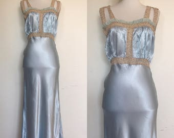 Lovely Pale Blue 40s Peignoir | Something Blue 1940s Trousseau Nightgown