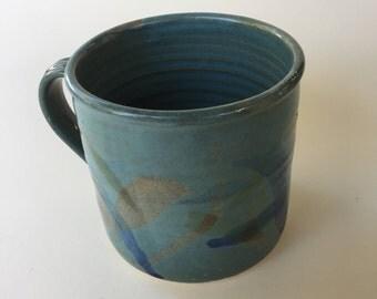 "Large Green Pottery Mug ""Starry Starry Night"""