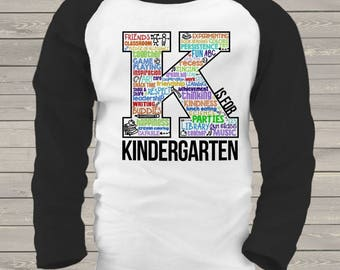 Student K is for kindergarten word collage raglan shirt - great for first day or any school day MSCL-044-R