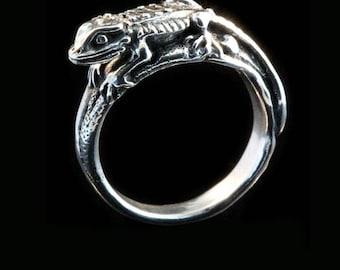 Lizard Ring Bearded Dragon Jewelry Bearded Dragon Ring Silver Bearded Dragon Ring Lizard Ring Reptile Jewelry Lizard Jewelry Desert Jewelry