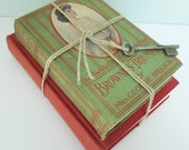 2 Vintage Books Tied with Hemp Twine and Skeleton Key, Home Decor Collection, Instant Library, 1901 Brownie's Triumph, 1947 Short Stories