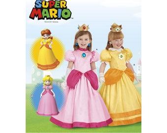 Nintendo Super Mario Bros. Princess Peach & Princess Daisy Costume Pattern, US Sizes: 3 - 4 - 5 - 6 -7 -8, Simplicity 8477 Sewing Pattern