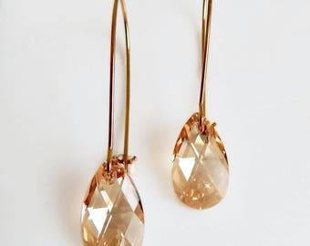 Gold crystal earrings - bridesmaid earrings - bridal earrings - champagne crystal - Swarovski earrings - gold earrings