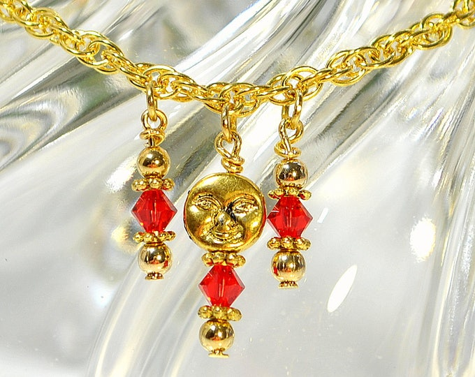 Moon Anklet Charm Ankle Bracelet Red Anklet Red Gold Ankle Bracelet Moon Ankle Bracelet Dangle Anklet Handmade Anklet