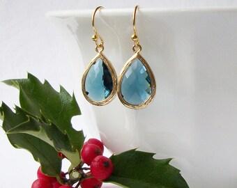 Sapphire Blue Crystal Drop Earrings, September Birthstone Jewelry, Sapphire Earrings