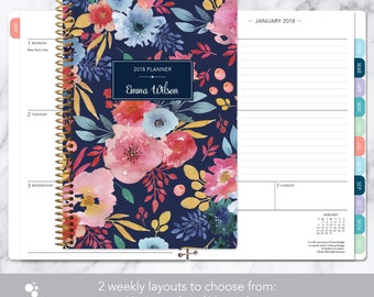 2018 planner weekly planner | 12 month calendar | add monthly tabs student planner | personalized agenda | navy blue pink watercolor floral