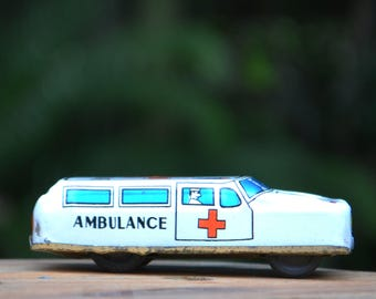 1950s Tin Lithographed Ambulance Toy