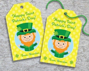 Personalized St Patrick's Day Gift Tags – DIY Printable – Hang Tags – Lucky Leprechaun (Digital File)
