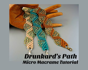 Drunkard's Path Micro Macrame Tutorial - Macrame Bracelet Tut - Pattern - Beaded Macrame - Jewelry Making - DIY