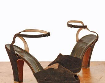 Vintage 1940s Shoes - Gorgeous Chocolate Brown Suede Ankle Strap Platform Pumps with Perfect Peeptoe and Thick Platform