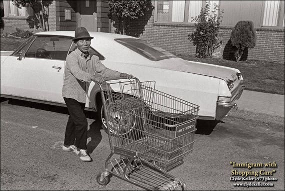 IMMIGRANT with SHOPPING CART, Clyde Keller photo, 1973, Signed