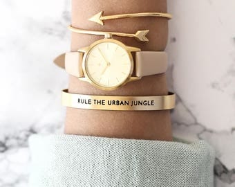 25 mm Watch in Gold and Nude, Classic Women's Wrist Watch, Nude Wrist Watch, Nude Leather Strap, Gold Women's Watch, Gold Wrist Watch