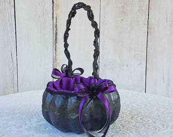 Black Pumpkin Basket with Purple Accents for your Halloween Wedding