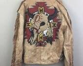 Vintage SOUTHWEST Cow Skull Fringe Biker Jacket Native Novelty 90s American Flag XL/XXL Oversize Fit