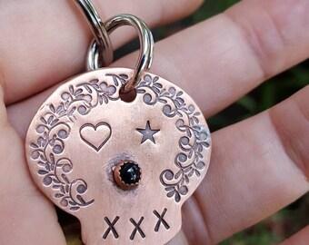 Sugar skull keychain, Calavera keychain, dia de Los muertos, skull keychain, skull keychain, ready to ship