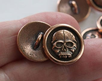 Copper Skull Buttons, TierraCast plated pewter bracelet hooks, 16mm wide, 2mm shank, jewelry or sewing buttons