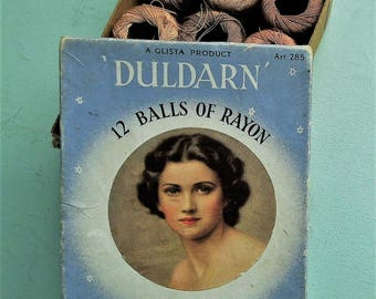 Vintage Hosiery Darning Thread Box & 9 Spools 1930s Rayon Stockings Mending Floss - Duldarn by Glista UK Art. 285 - 9 small reels small box