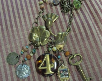 Trash to Treasure Assemblage Charm Necklace - Star of Argintina