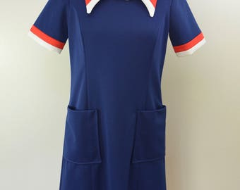 Vintage STEWARDESS UNIFORM dress Size 12 made in USA 1960's 70's
