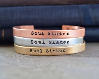 Soul Sister Bracelet - Best Friend Gift - BFF Gift - Looks Like Silver - Hand Stamped  - Gifts Under 20