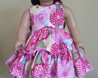 American Girl Doll Floral Ruffled Dress