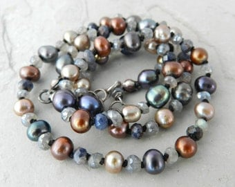 Blue, Bronze, Champagne, Brown, Pearl Blue Sapphire & Gray Blue Labradorite Gemstone Hand Knotted Strand Necklace