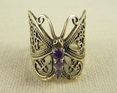 Size 7 Vintage Sterling and Amethyst Butterfly Ring