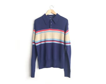 Size L // KNIT POLO SWEATER // Navy Blue - Tan Colorblock Detail - Striped - Collar - Acrylic - Preppy - Vintage '80s.