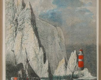 Antique Print - Chalk Cliffs of the Needles - Isle of Wight - Victorian-era Original - Matted - Ready to Frame