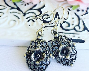 Victorian Earrings - Silver - Rose Jewelry - Romantic - VICTORIAN ROSE