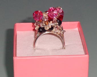 Swarovski Crystal Sterling Silver Cluster Fuck Ring Pink Red