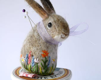 Original Handmade Needle Felted Buff Bunny Pin Cushion