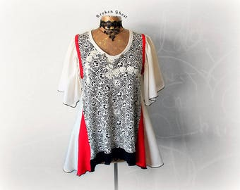 Upcycled Shirt Rocker Chic Top Skull Clothing Layered Look Women Tunic Flutter Sleeve DIY Clothes Goth Shirt Unique Artsy Top L XL 'ISABELLE