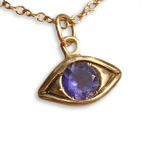 Large Gold and Lavender Iolite Eye Charm