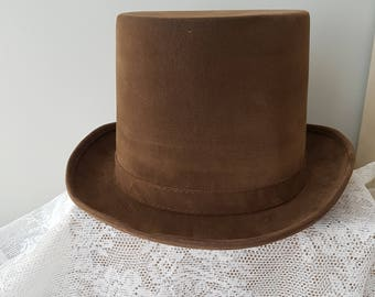 "Brown Top Hat -Steampunk Hat Tophat Steampunk Hat ""Xavian"" size +/- 59/61"