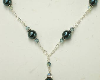 Tahitian Pearl Necklace, Sterling Silver Chain, Teal Swarovski Pearls and Crystals, Bridesmaid Necklace, Wedding Jewelry, June Birthday Gift