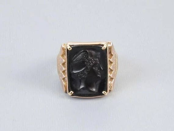 Antique Victorian 10k rose gold black onyx Mercury cameo ring, size 9