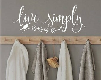 Live Simply Decal Inspirational Quote Wall Word Vinyl Letters Home Decals Nursery Art Farmhouse Bird Branch Simple Life Rustic Handwritten