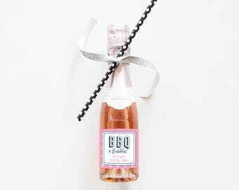 BBQ and Bubbles // Mini Champagne Bottle Labels //  Custom Wine Labels // Wedding, Bridal Shower or Bachelorette Party