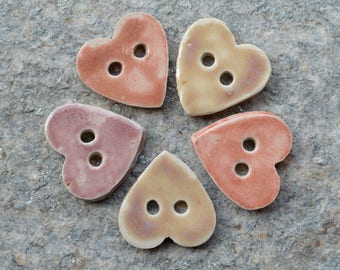 5 stoneware heart shaped buttons mixed pink - 3.7 x 3.7 cm