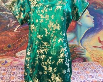 Asian Dress, Green, Holiday, Japan, Hostess, short, Christmas, dress, L/XL
