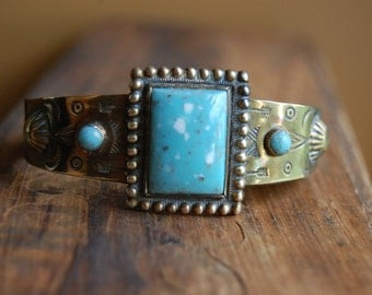 Vintage Southwestern Stamped Brass Cuff Metal Bracelet   Navajo Native American Inspired  Cactus Arrow Stamped Jewelry   Bohemian Style Cuff