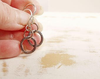 Copper Circle Earrings with Sterling Silver Ear Wires, Mixed Metal Jewelry, Oxidised Copper, Simple Jewellery, Everyday Earrings