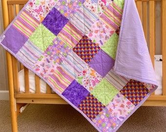 Handmade Baby Quilt - Crib Quilt - Baby Girl Quilt - Toddler Quilt - Butterfly Quilt - Girl Nursery Bedding - Floral Crib Bedding - RTS