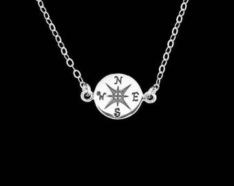 Compass Necklace in Sterling Silver