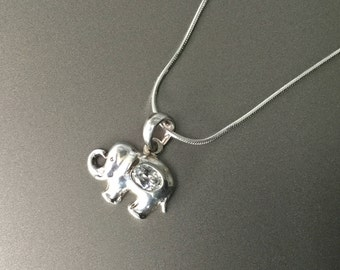 Elephant with a Curled Trunk and Oval CZ Sterling Silver Necklace - Cubic Zirconia 925